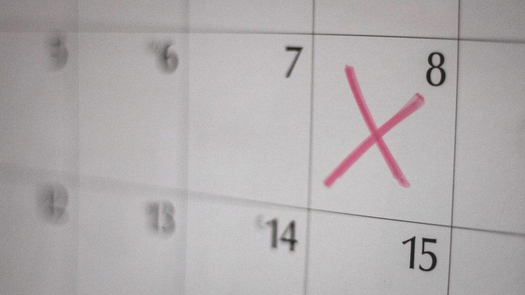 Ein Kalender, in dem der Tag meiner Endometriose-Operation markiert ist.